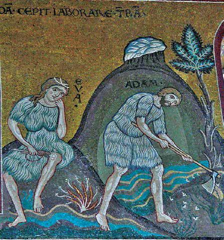Αδάμ καὶ Εὔα, ψηφιδωτό, Duomo di Monreale, Σικελία