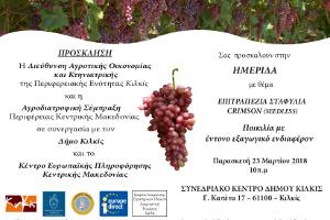 Ἐνημερωτική ἡμερίδα γιά τά ἐπιτραπέζια σταφύλια Crimson (seedless), Κιλκίς 23-3-2018