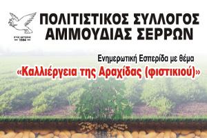 Ενημερωτική εσπερίδα με θέμα την «Καλλιέργεια της Αραχίδας (Φιστικιού)», Αμμουδιά Σερρών 23-11-2018