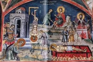 13 Δεκεμβρίου - Τα Χαριτόβρυτα Σκηνώματα των Αγίων Πέντε Μαρτύρων, ολόσωμα στο Πολύστυλο Καβάλας.