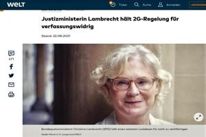 Τέταρτο κύμα: Η Υπουργός Δικαιοσύνης της Γερμανίας Lambrecht κρίνει αντισυνταγματική την ρύθμιση 2G [*]