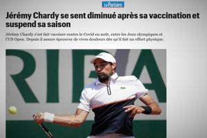 Τέλος η σεζόν για τον διάσημο τενίστα Jérémy Chardy λόγω παρενεργειών από το εμβόλιο